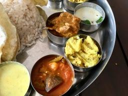 Bade Miya Thali - Pulissery, Sambhar, Kappa, Chicken Curry, Pachadi