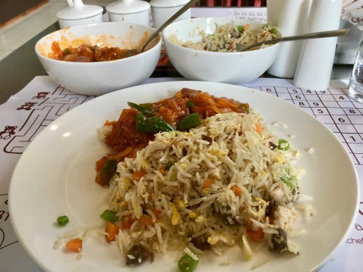 Mixed Fried Rice with Chilly Fish