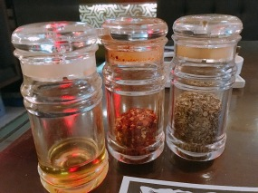 Condiments - Olive Oil, Chilly Flakes and Oregano